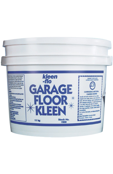 Kleen flo products garage floor kleen for Clean oil off concrete
